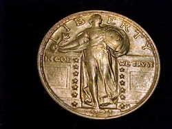 1921 Standing Liberty Quarter About Uncirculated. A Nice High Grade Coin.