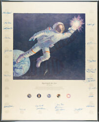 Alan Beanand039s Painting Andldquoreaching For The Starsandrdquo - Signed By 24 Famous Astronauts