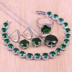 Green Emerald Round Stones Inlaid Rings Set Jewelry 925 Silver Bridal Set