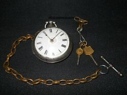 1818 Antique William Congrave Fusee Movement Solid Silver Pocket Watch Works