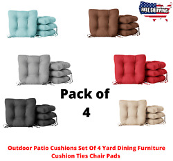 Outdoor Patio Cushions Set Of 4 Yard Dining Furniture Cushion Ties Chair Pads