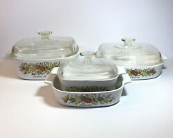 Vintage Corning Ware Spice Of Life Casserole Set Pyrocream Pyrex Made In Usa