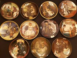 Norman Rockwell Limited Edition Plate Collection Lot Of 11 Plates Coa And Boxes