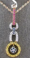 Large And Long 1.06ct Diamond And Aaa Sapphire 18kt Tri Color Gold 3d Flower Pendant