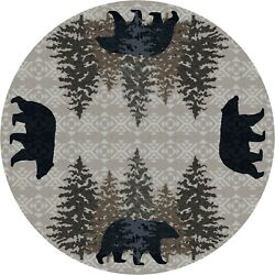 High Point Bear Stone Wilderness Lodge Country Farmhouse Cabin Rug 8' Round