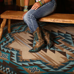 Rustic Cross Turquoise Southwestern Ranch Country Cabin Nylon Rug 7and0398 X 10and03911