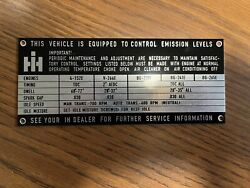 New Repop International Harvester Scout Travelall Emissions Data Plate