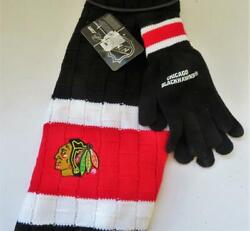 Chicago Blackhawks Licensed Nhl Women's Rectangular Scarf And Gloves Collectible