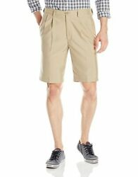 Haggar Cool 18 Oxford Pleat Shorts Hs106 Tan Size 44 New Msrp 48.00