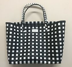 Kate Spade Black And White Woven Beach Tote Extra Large Size $45.00