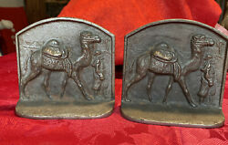 Vintage Bronzed Cast Iron Bookends Bedouin Leading Camel Pyramids And Palm Behind