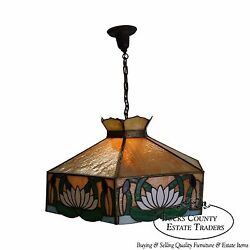 Antique Arts And Crafts Stained Glass Hanging Chandelier Light Fixture