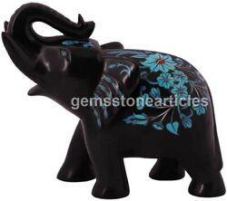 6 Marble Black Trunk Up Elephant Statue Turquoises Inlaid Floral New Year Gifts