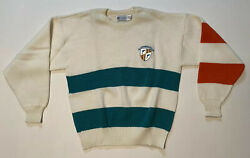 Vtg Miami Dolphins Crest Nfl Football Fan Large Sweater Cliff Engle Made In Usa