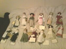 Franklin Heirloom Dolls Lot Of 13 Porcelain Hand Painted Heads Around Country