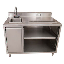 Bk Resources Bevt-3060l 60x30 Stainless Steel Beverage Table W/ Sink On Left