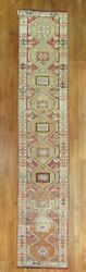 Vintage Turkish Oushak Anatolian Rug Runner Size 2and0392and039and039x10and0393and039and039