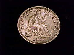 1858-o Half Dime About Uncirculated Grade. Really Nice