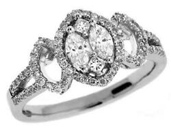 .62ct Diamond 14kt White Gold 3d Round Princess And Marquise Friendship Love Ring
