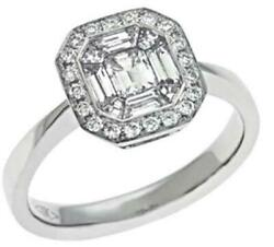 Wide .74ct Diamond 14kt White Gold Multi Shape Invisible Octagon Enagement Ring