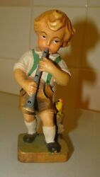 Vintage Anri Wood Carved Boy Playing Flute With Bird 4.6 Tall X 1.8 X 1.4