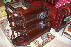 Vintage Mid Century Wood Wall Hanging Curio Shelf Chippendale Style..ornate