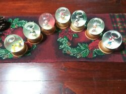 Vintage Set Of 7 The First Limited Edition Disney Crystal Snow Globes...