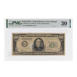 1934 A 500 Federal Reserve Currency Note Chicago Pmg Vf 30 Stained Annotation