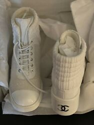 Authentic Combat Boots Cc Logo Lace Up Tweed/patent Leather White 41