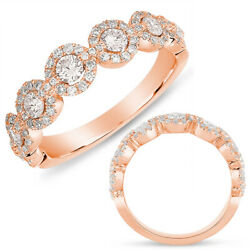 Wide .82ct Diamond 14kt Rose Gold 3d Classic Multi Flower Halo Anniversary Ring