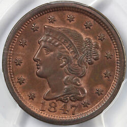 1847 1c N-29 Braided Hair Large Cent Pcgs Ms 63 Rb