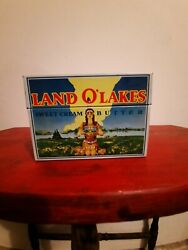 Vintage Land O Lakes Sweet Cream Butter Metal Recipe Box With Org. Cards