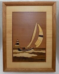 Hudson River Wood Inlay Marquetry Nelson Spinnaker Point Sailboat 9.75 X 12.75