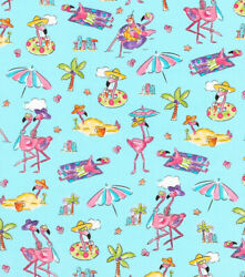 BTY FLAMINGO BEACH on Blue Print Fabric 100% Cotton Quilt Craft Fabric by YARD $10.00