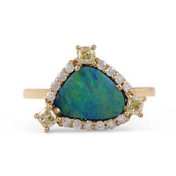 Solid 14k Yellow Gold Opal Gemstone And Natural Diamond Ring In Standard Us 7