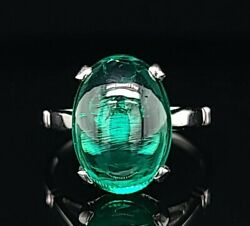 Vintage Platinum Engagement Ring Cabochon Green Emerald 7.78ct Circ 1940and039s