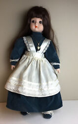 """Schmid Brown Haired Musical Music Collectible Porcelain 17"""" Doll Bunny And Bonnet"""