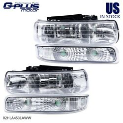 Fit For 99-02 Chevy Silverado Clear Lens Chrome Housing Headlight Lamps