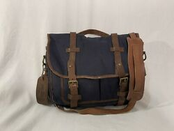 Polo Ralph Lauren Canvas and Leather Messenger Bag Navy $199.99