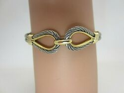 18k Yellow Gold And Stainless Steel Cable Bracelet 6.75 In. Nautical Boating