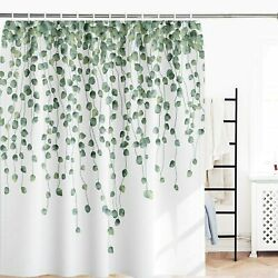 Watercolor Ivy Leaves Green White Farmhouse Fabric Shower Curtain