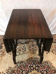 Antique Victorian Carved Wood Drop Leaf Dining Game Card Table