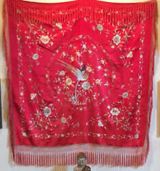 Antique Chinese Silk Hand Embroidered Canton Tapestry Piano Shawl