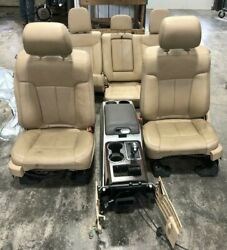 2011-2014 Ford F150 Front Rear Seat Console Tan Leather Heat/cool/mem/pwr