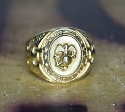 Pristine Original Post Wwi 1920and039s Usmc Droop Wing Ega Class Ring 10k Solid Gold