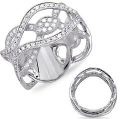 Estate Wide .85ct Diamond 14kt White Gold 3d Multi Leaf Infinity Pave Love Ring