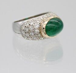 Fabulous 14kt White Gold 3.75 Ct Emerald And Diamond Ring