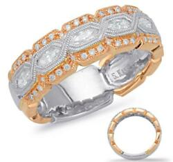 Wide .45ct Diamond 14kt White And Rose Gold 3d Round And Marquise Anniversary Ring