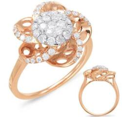 Estate Large .71ct Diamond 14kt White And Rose Gold 3d Pave Flower Love Ring
