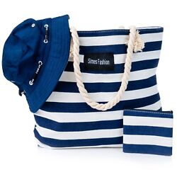 Beach Bag w Free Bucket HatTote Bag For Women w Zipper Canvas Pool Beach Bag $11.90
